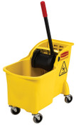 Newell Rubbermaid Tandem Bucket and Wringer Combo, 31 qt, Yellow, 1/EA, #738000YEL