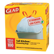 Clorox Tall Kitchen Drawstring Bags, 24 x 27 3/8, 13gal, .95mil, White, 1/CT, #CLO78526CT
