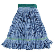 Boardwalk Super Loop Wet Mop Head, Cotton/Synthetic, Medium Size, Blue, 12/EA, #BWK502BLEA