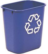 Newell Rubbermaid Deskside Recycling Containers, 13 5/8 qt, Plastic, Blue, 12/EA, #295573BLUE