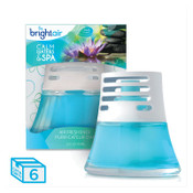 BRIGHT AIR Scented Oil Air Freshener, Calm Waters and Spa, Blue, 2.5oz, 6/CT, #BRI900115CT