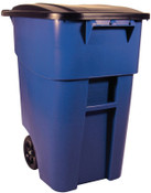 Newell Rubbermaid Brute Roll Out Containers, 50 gal, Blue, 1/EA, #9W2700BLUE