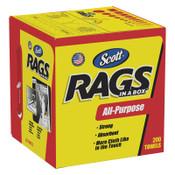 Kimberly-Clark Professional Scott Rags In-A-Box, Pop-Up Box, White, 8/CA, #75260