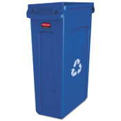 Newell Rubbermaid Slim Jim Recycling Containers, 23 gal, Plastic, Blue, 4/EA, #354007BLUE
