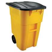 Newell Rubbermaid Brute Rollout Container, Square, Plastic, 50 gal, Yellow, 1/EA, #9W2700YEL