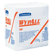 Kimberly-Clark Professional WypAll X80 Towels, 1/4 Fold, Cotton White, 4/CASE, #41026