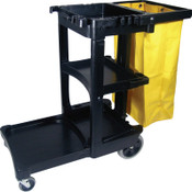 Newell Rubbermaid CLNING CART W/ZIPPERED YEL VINYL BG BLA, 1/EA, #617388BLA