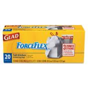 Clorox ForceFlex Tall Kitchen Drawstring Trash Bags, 13 gal, .9 mil, 24 X 25 1/8, White, 1/CA, #CLO70427