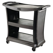 RUBBERMAID COMMERCIAL PROD. Executive Service Cart, Three-Shelf, 20-1/3w x 38-9/10d, Black, 1/EA, #RCP9T6800BK