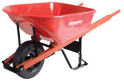 The AMES Companies, Inc. Razor-Back Wheelbarrows, 6 cu ft, Solid Knobby w/Grease Fittings, Red, 1/EA, #M6FFKB