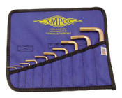 Ampco Safety Tools 10 Piece Allen Key Sets, 10 per pouch, Hex Tip, Inch, 1/KIT, #M42