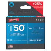 Arrow Fastener T50 Type Staples, #504™, 1/4 in L x 3/8 in W, Steel, 1/PK, #504