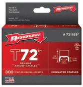 Arrow Fastener T72 Type Staples, 11/32 in L x 19/32 in W, 300 per box, 40/CA, #721189