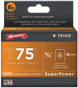 Arrow Fastener T75 Type Staples, 5/8 in L x 9/16 in W, 1/PK, #7510S