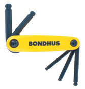 Bondhus GorillaGrip Ballpoint Fold-Ups, 5 per fold-up, Hex Ball Tip, Inch, 1/SET, #12894