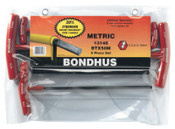 Bondhus Balldriver T-Handle Hex Key Sets, Hex Ball Tip, Metric, 1/SET, #13148