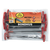 Bondhus Balldriver T-Handle Hex Key Sets, 8 per pack, Hex Ball Tip, Metric, 1/ST, #13187