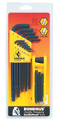 Bondhus Balldriver L-Wrench and Fold-Up Set Combinations, 22 pieces, Hex Ball Tip, Inch, 1/SET, #14189