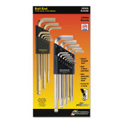Bondhus GoldGuard/BriteGuard L-Wrench Hex Key Sets, 22 per set, Ball Tip, Inch/Metric, 1/EA, #20399