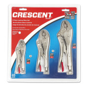 "Apex Tool Group Locking Pliers Set, 5"", 7"" & 10"" Curved Jaw Locking Pliers, 1/ST, #CLP3SETN"