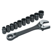 Apex Tool Group X6 Pass-Thru Adjustable Wrench Set w/Tray, 11 pc, 8 in, 1/EA, #CPTAW8