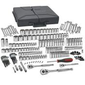 Apex Tool Group 216 Piece Mechanics Tool Sets, SAE/Metric, 6 and 12 Point, Chrome, 1/EA, #80933