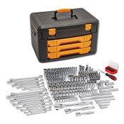 Apex Tool Group Mechanics Tool Set in 3 Drawer Storage Box 243PC 12pt, 1/EA, #80972
