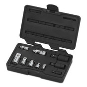 Apex Tool Group 10 Pc Universal Adapter Sets, Full Polish Chrm; Blck Oxd, 1/4 in; 3/8 in; 1/2 in, 1/ST, #81205