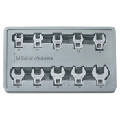 """Apex Tool Group 10 Piece Crowfoot Drive Non-Ratcheting Wrench Set, 3/8 """" Drive, 10 mm - 19 mm, 1/ST, #81909"""
