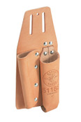 Klein Tools Pliers and Screwdriver Holders, 2 Compartments, Leather, 1/EA, #5118S