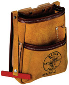 Klein Tools 5-Pocket Tool Pouches, 5 Compartments, Natural, Leather, 1/EA, #5125L