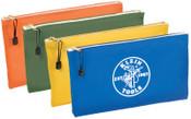 Klein Tools Canvas Zipper Bag Assortments, 12 1/2 in X 7 in, 4 per Pack, 1/PK, #5140