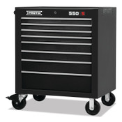 Stanley Products 550S Series Rolling Cabinet, 34 in, 8-Drawer, Dual Black, 1/EA, #5534418DB
