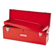 Stanley Products General Purpose Tool Box, Double Latch, 26 in x 8 1/2 in x 9 1/2 in, Steel, Red, 1/EA, #J9969NA