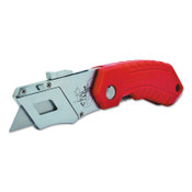 Stanley Products Folding Pocket Safety Knives,4.312 in,Folding Steel Blade,Bi-Material,Gray;Red, 1/EA, #STHT10243