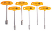 Wiha Tools T-Handle Nut Driver Sets, 3/16 in; 1/4 in; 5/16 in; 3/8 in; 7/16 in; 1/2 in, 1/SET, #33690