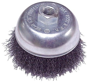 """Crimped Cup Brushes for Right Angle Grinders - Stainless Steel - 2-3/4"""" x 5/8""""-11, M14 x 2.0, Mercer Abrasives 188020 - Carded for Retail (1/Pkg.)"""