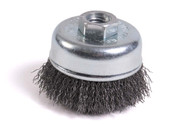 """Knot Cup Brush - 2-3/4"""" x 5/8-11"""", M10x1.25, M10x1.5, Carbon Steel, Mercer Abrasives 189010 - Carded for Detail (1/Pkg.)"""