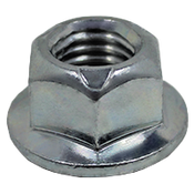 M6-1.00 Coarse Metric Class 10 Hex Flange Metal Top Locknut, DIN 6927, Zinc Cr+3 (4000/Bulk Pkg.)