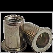 1/4-20 (.165-.260) Steel Large Flange Knurled Body Rivet Nuts Zinc Yellow CR+3 (3000/Bulk Pkg.)