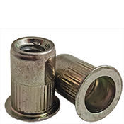 10-32 (.020-.130) Steel Large Flange Knurled Body Rivet Nuts Zinc Yellow CR+3 (6000/Bulk Pkg.)