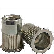 1/4-20 (.027-.165) Steel Small Flange Knurled Body Rivet Nuts Zinc Yellow CR+3 (1000/Pkg.)