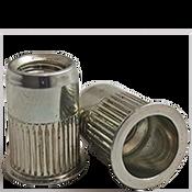 1/4-20 (.165-.260) Steel Small Flange Knurled Body Rivet Nuts Zinc Yellow CR+3 (3000/Bulk Pkg.)