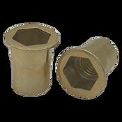 10-24 UNC (.020-.130) Steel Hex Rivet Nuts Zinc Yellow Cr+3 (Inch) (1000/Pkg.)