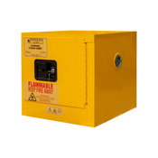 "Durham Mfg Heavy-Duty Steel Flammable Storage Cabinet, 2 Gallon, 1 Door, Manual Close, 1 Shelf, Safety Yellow, 17-3/8""W x 18-1/8""D x 17-1/4""H, Yellow, DM-1002M-50 (1/Ea)"