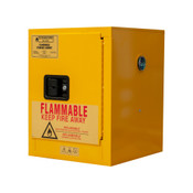 "Durham Mfg Heavy-Duty Steel Flammable Storage Cabinet, 4 Gallon, 1 Door, Manual Close, 1 Shelf, Safety Yellow, 17-3/8""W x 18-1/8""D x 22-1/8""H, Yellow, DM-1004M-50 (1/Ea)"