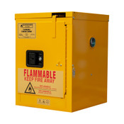 "Durham Mfg Heavy-Duty Steel Flammable Storage Cabinet, 4 Gallon, 1 Door, Self Close, 1 Shelf, Safety Yellow, 17-3/8""W x 18-1/8""D x  23-3/8""H, Yellow, DM-1004S-50 (1/Ea)"