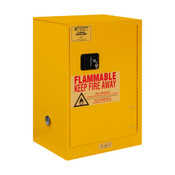 "Durham Mfg Heavy-Duty Steel Flammable Storage Cabinet, 12 Gallon, 1 Door, Manual Close, 1 Shelf, Safety Yellow, 23""W x 18""D x 35""H, Yellow, DM-1012M-50 (1/Ea)"