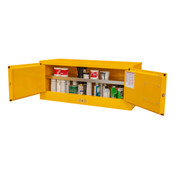 "Durham Mfg Heavy-Duty Steel Flammable Storage Cabinet, FM Approved, 12 Gallon, 2 Door, Manual Close, 1 Shelf, Safety Yellow, 43""W x 18""D x 18""H, Yellow, DM-1012MH-50 (1/Ea)"