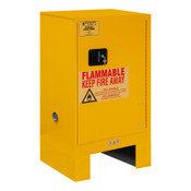 "Durham Mfg Heavy-Duty Steel Flammable Storage Cabinet w/ Legs, FM Approved, 12 Gallon, 1 Door, Manual Close, 1 Shelf, Safety Yellow, 43""W x 18""D x 18""H, Yellow, DM-1012ML-50 (1/Ea)"
